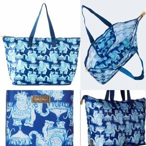 LILLY PULITZER Large Packable Tote Blue & Aqua